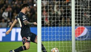 Lionel Messi follows in to score PSG's second-half equaliser Creator: Anne-Christine POUJOULAT