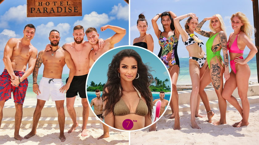 """Klaudia El Dursi i uczestnicy show """"Hotel Paradise 3""""."""
