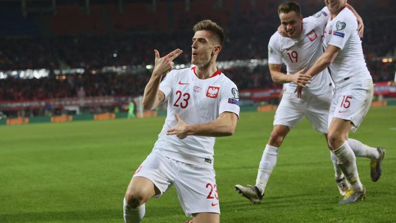Krzysztof Piątek po strzeleniu gola w inauguracyjnym meczu eliminacji mistrzostw Europy 2020 grupy G z Austrią