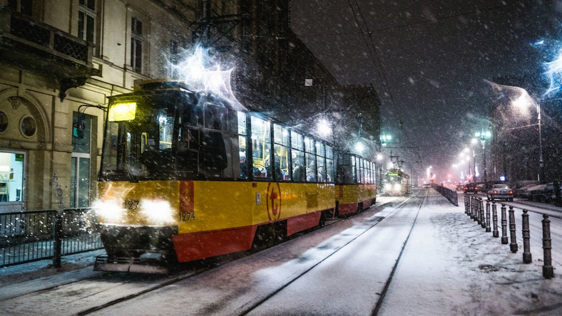 Opady śniegu, Warszawa.