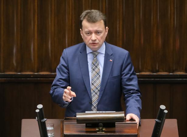 Minister spraw wewnętrznych i administracji Mariusz Błaszczak podczas posiedzenia Sejmu