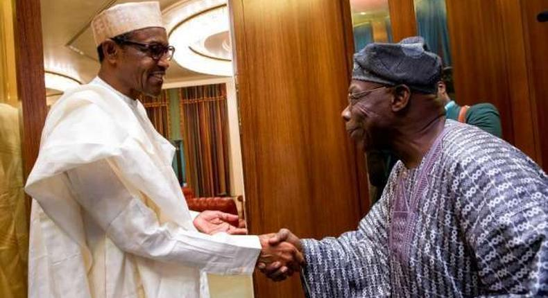 President Muhammadu Buhari and former President Olusegun Obasanjo exchanging pleasantries at the Presidential Villa in Abuja, before OBJ later withdrew his support for the incumbent administration.