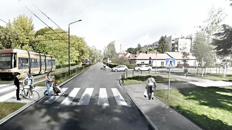 Wizualizacja przyszłej trasy tramwajowej. Tu w ul. Rostafińskich