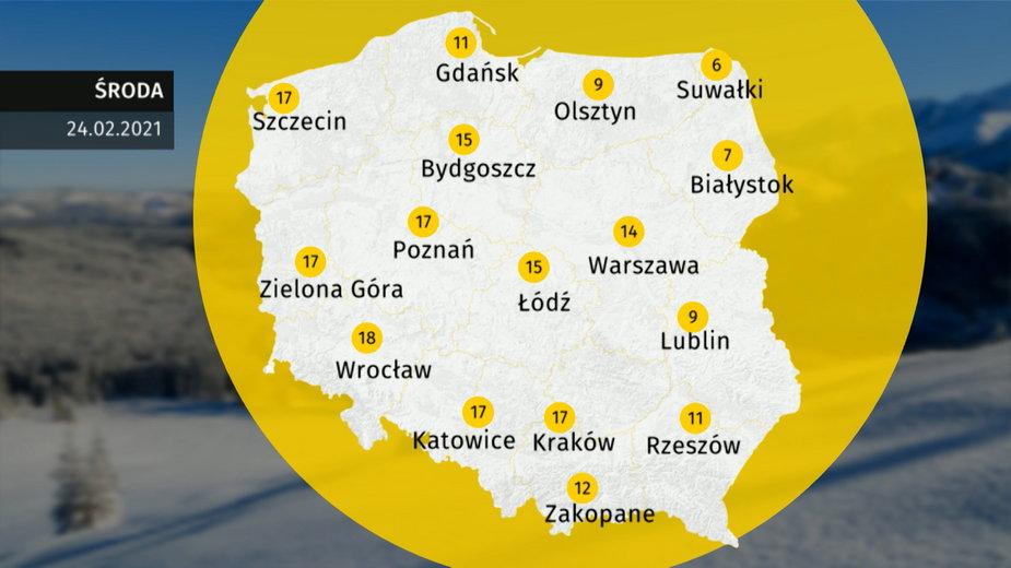 Prognoza pogody dla Polski. Jaka pogoda w środę 24 lutego 2021?