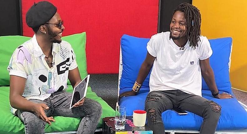 Singer Ayrosh and Pulse Presenter Shem Muikia at Pulse Live Kenya Studios
