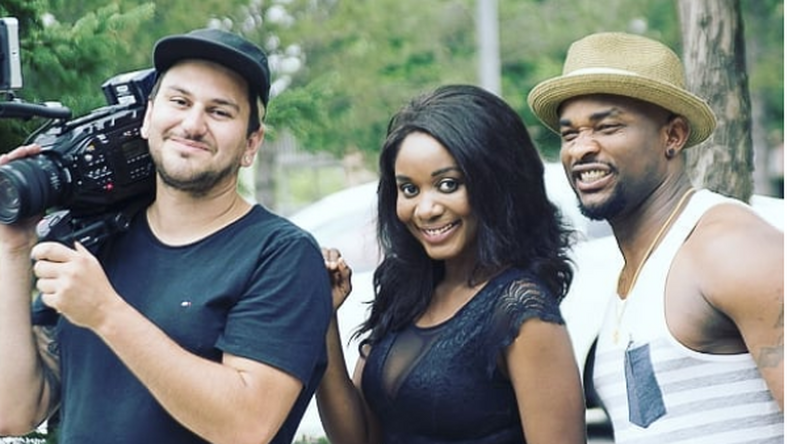 Amanda Ebeye (middle) with KC Muel (Right) behind the scenes of the movie, 'Horror.'