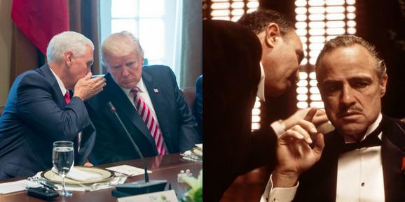 Tramp sa potpredsednikom Majkom Pensom i scena iz filma