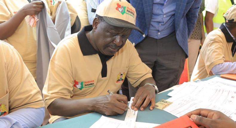 AU envoy Raila Odinga registering for Huduma Namba