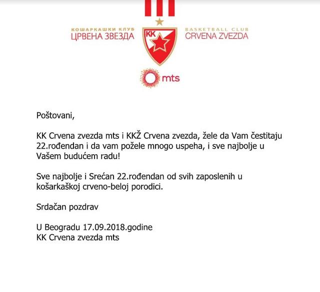 Čestitka od Košarkaškog kluba Crvena zvezda i ŽKK Crvena zvezda