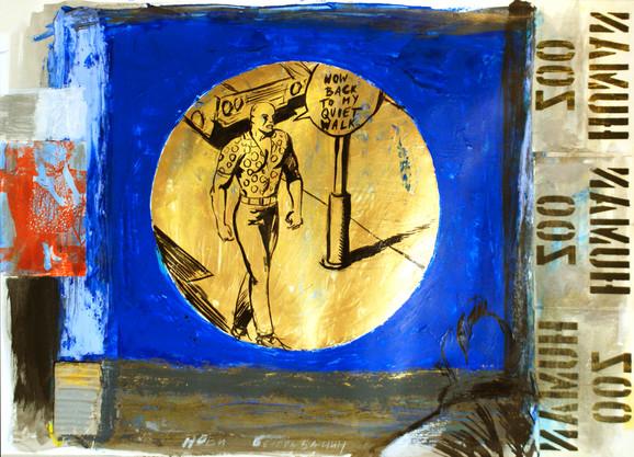 A. M. Leka, Novi Beograđanin, akrilik, tuš, kolaž na papiru, 50 x 65 cm, 2017.