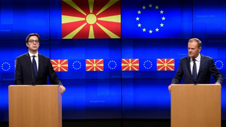 "European Council President Donald Tusk (R) told a press conference with North Macedonia President Stevo Pendarovski the Balkan state and Albania had done ""everything that was expected"" to move their EU bids forward"