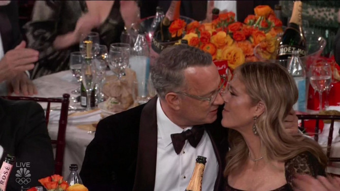 Rita Vilson i Tom Henks: poljubac za Zlatni globus