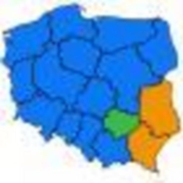 Poparcie w regionach w wyborach do sejmików wojewódzkich dla komitetów wyborczych o zasięgu ogólnokrajowym - godzina 12:05