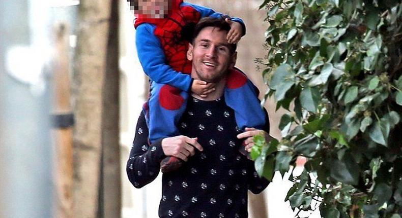 Lionel Messi and his son, Thiago