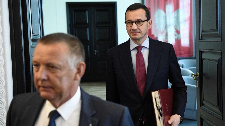 Prezes NIK Marian Banaś i premier Mateusz Morawiecki