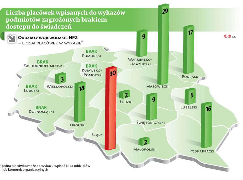 Liczba placówek wpisanych do wykazów podmiotów zagrożonych brakiem dostępu do świadczeń