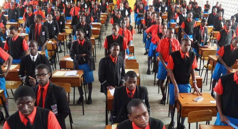 Students waiting to sit for an examination at Starehe Boys High School