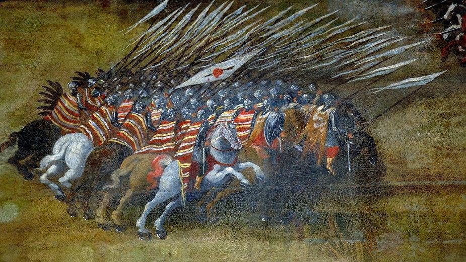 Atak husarii polskiej (fragment obrazu Bitwa pod Kłuszynem Szymona Boguszowicza)