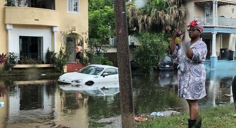 Storm, brimming with rain, barrels toward waterlogged Louisiana