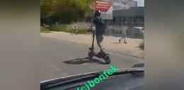 Szok w Łodzi! Gnał 100 km/h na hulajnodze, wymijał inne auta. To nagranie wywołuje ciarki na plecach