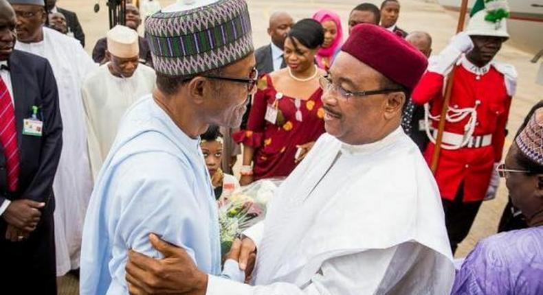 President Muhammadu Buhari and the former President of Niger Republic, Mahamadou Issoufou in Abuja.