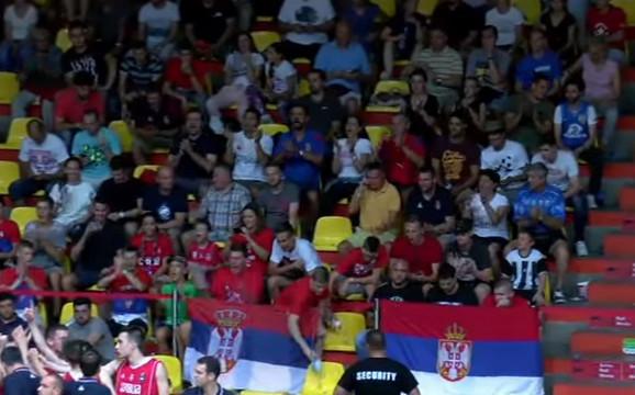 Navijači Srbije na tribinama hale u Bratislavi