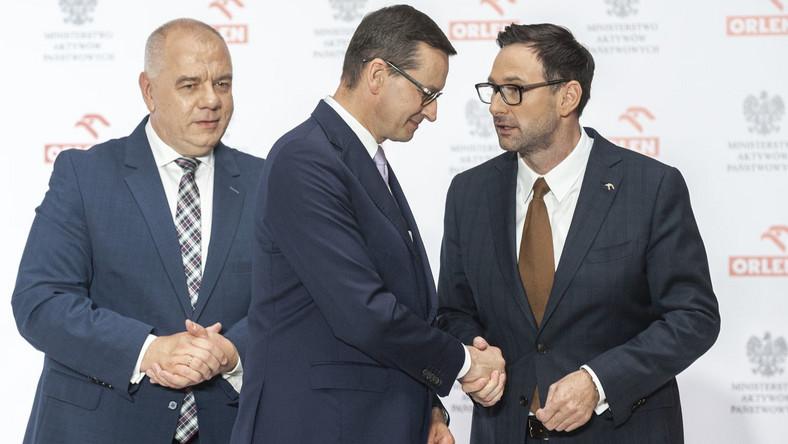 Jacek Sasin, Mateusz Morawiecki i Daniel Obajtek