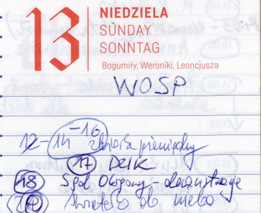Ostatnia kartka z kalendarza prezydenta Pawła Adamowicza.
