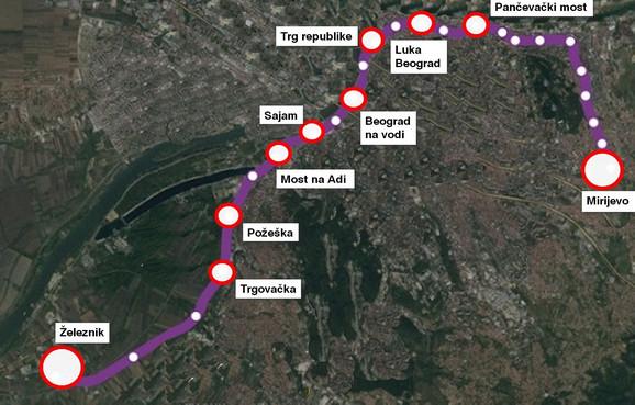 Trasa prve linije BG metroa