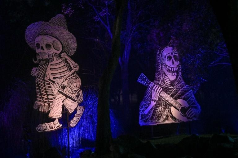 "Skeletons are portrayed around the ""Gran Ofrenda"" (Mega Offering) in the Chapultepec Forest in Mexico City"