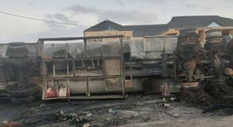 Scene of a tanker explosion at Egbeda area of Lagos State on Tuesday morning. [NAN]
