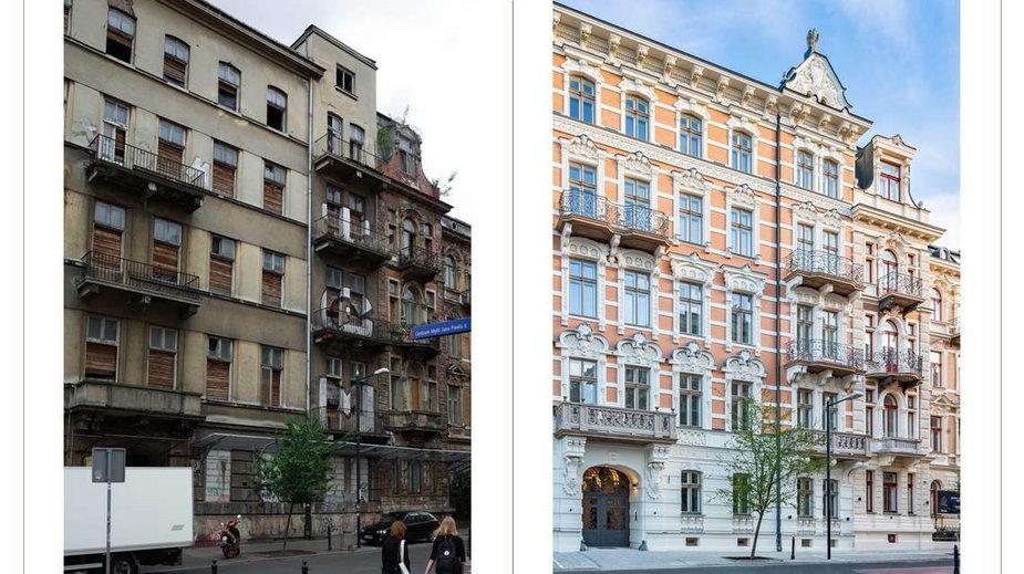 Tak zmieniły się kamienice przy ul. Foksal 13/15 w Warszawie