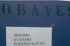 """""""IMAJTE SEKS, MOLIM VAS"""" Komšije na Banovom brdu imaju savet za NERVOZNE STANARE (FOTO)"""