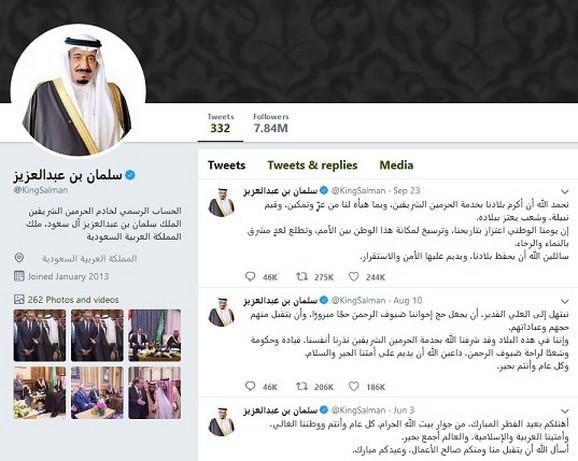 Kralj Salman ima 7,8 miliona pratilaca