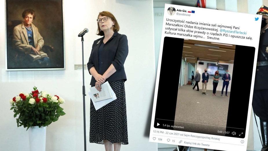 """Uroczystości w Sejmie. Padają słowa o """"rujnowaniu państwa prawa"""", Terlecki wychodzi"""