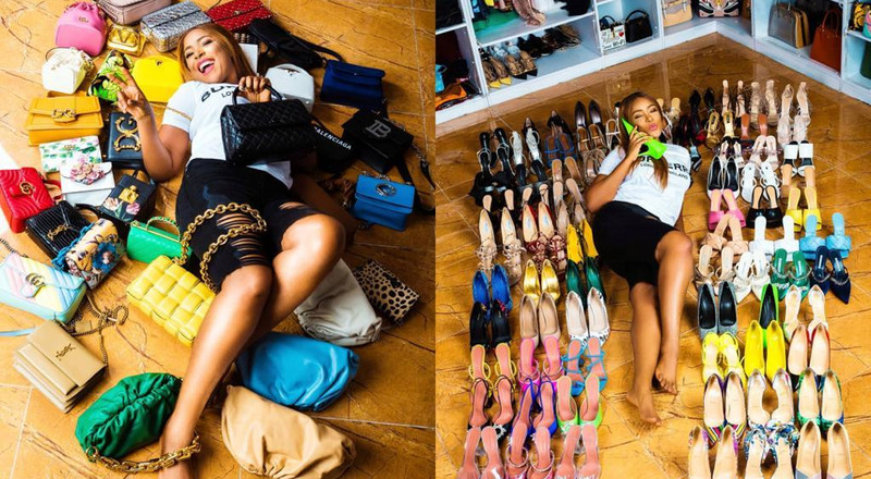 Blogger Linda Ikeji buys 85 pairs of shoes and 35 bags in one day to mark 40th birthday