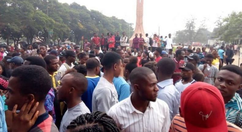 UNIBEN students protesting against tuition increase
