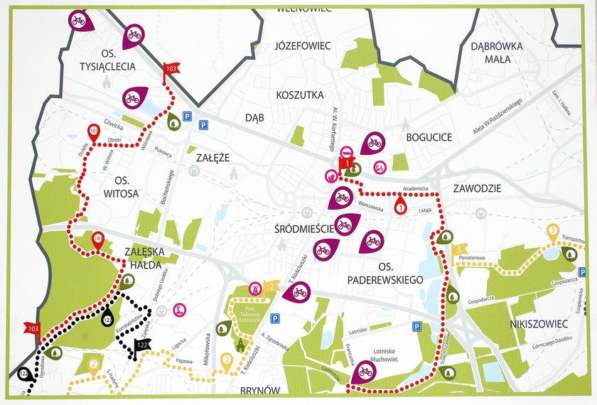 Mapa z lokalizacjami stacji wypożyczalni rowerów