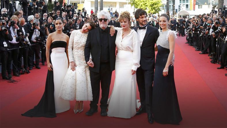 "Director Pedro Almodovar and cast members  arrive for the screening of the film ""Julieta"" in competition at the 69th Cannes Film Festival in Cannes"