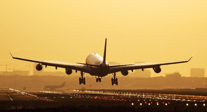 Jumbo Jet Landing at OR Thambo international airport. (The Winston Hotel)