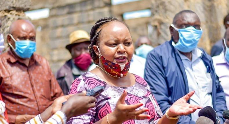 Kirinyaga Governor Anne Mumbi Waiguru inspecting a county project. 23 MCAs on June 9, 2020 voted to impeach her over gross misconduct and abuse of office