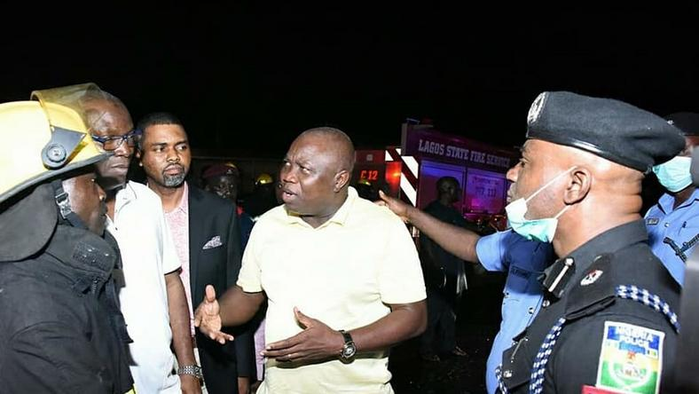 Governor Akinwunmi Ambode at the scene of the Lagos tanker explosion