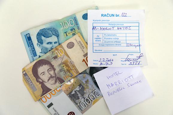 Račun koji je taksista izdao našem novinaru nakon vožnje do Trga republike