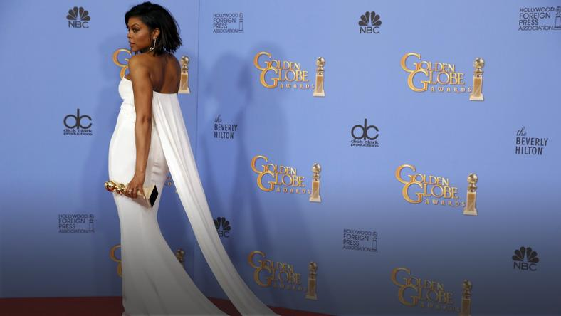 Taraji P. Henson poses with her award during the 73rd Golden Globe Awards in Beverly Hills