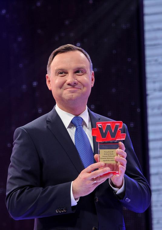 """Prezydent Andrzej Duda odbiera nagrodę """"Człowiek Wolności 2015"""""""