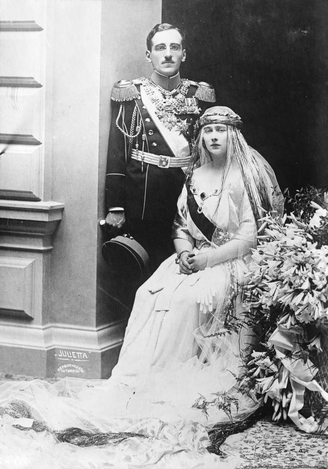 Aleksandar I i Marija na dan venčanja 1922. godine