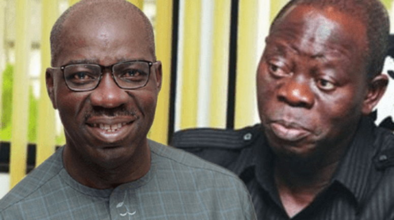 Godwin Obaseki and Adams Oshiomhole have been at loggerheads for a while over political differences which has split the ruling party in the state. (Vanguard)