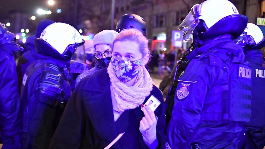 Barbara Nowacka podczas sobotniej demonstracji