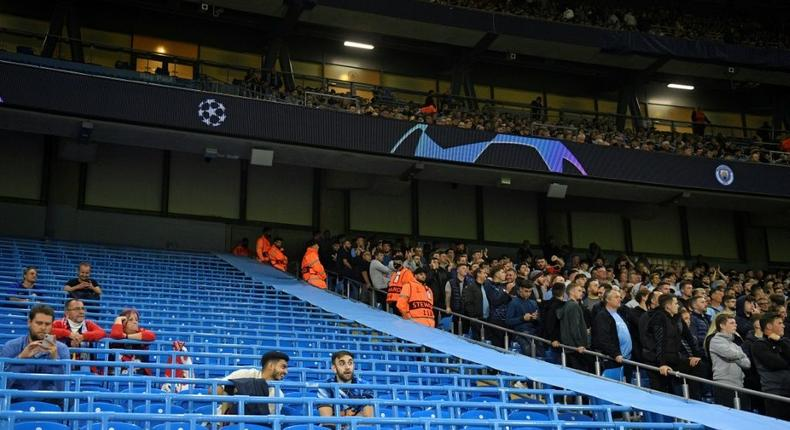 Pep Guardiola was frustrated by the attendance for Manchester City's 6-3 win over RB Leipzig in the Champions League Creator: Oli SCARFF