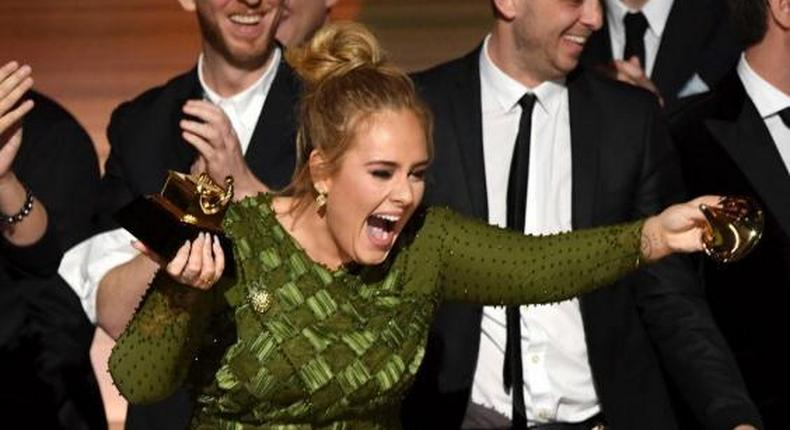 Adele dedicating the Album of the Year award to Beyonce
